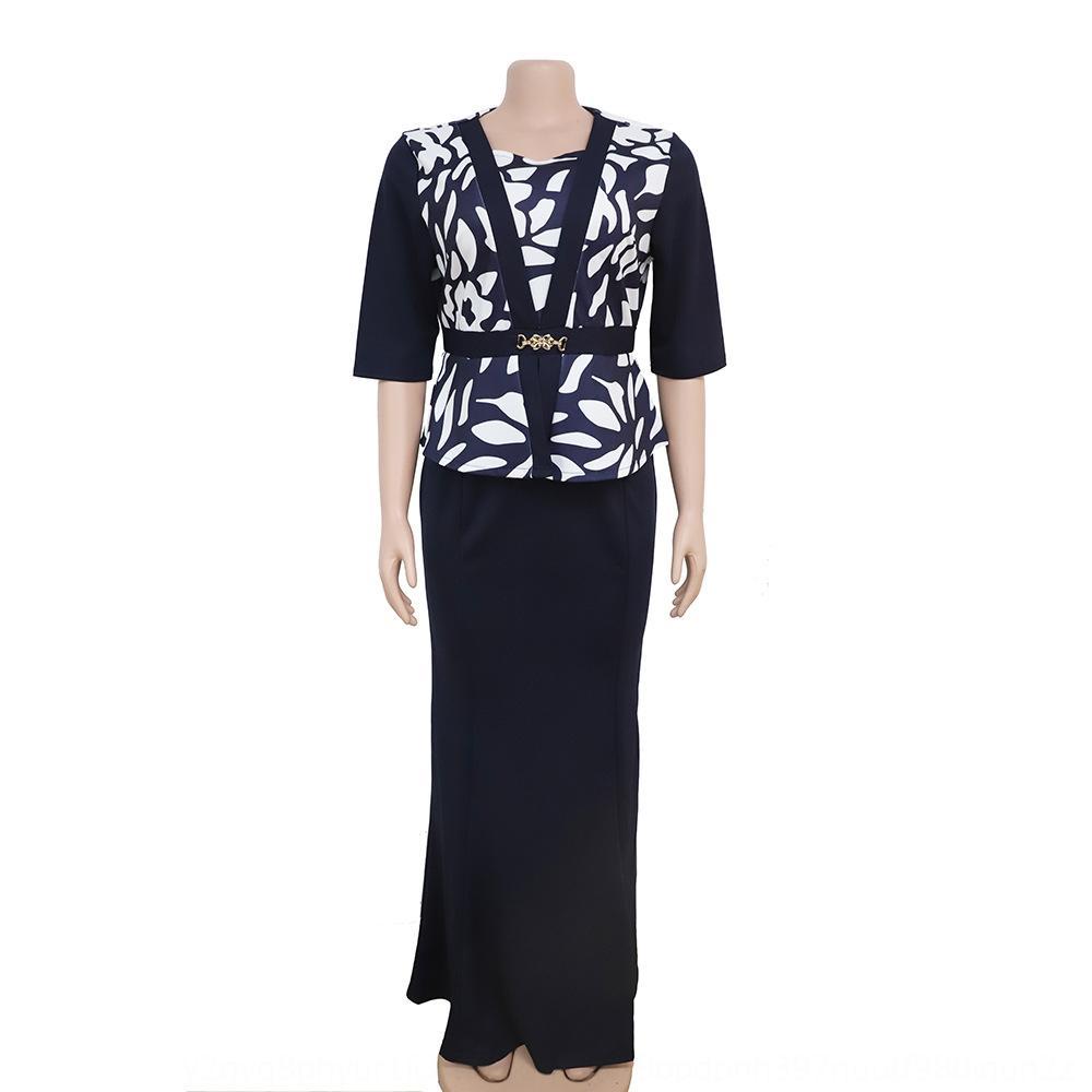 Y5v5h Frauen große Größe Mütter gedruckt zweiteiliges Kleid Frauen-Rock lang Größe Mütter Rock gedruckt zweiteiliges langes Kleid
