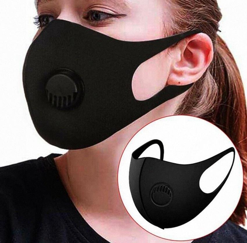 Lavable éponge masque facial avec la respiration Vannes réutilisables anti-buée masque PM2,5 unisexe masques réutilisables noir LJJK2028 PAFN #