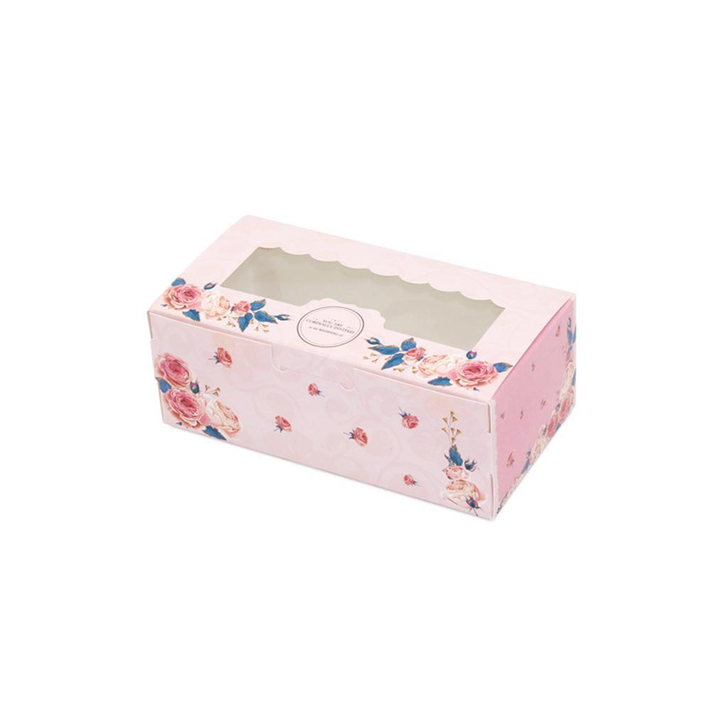 10 шт Складная коробка подарка Cute Candy Rose Party Свадьба с окном Куки бумаги