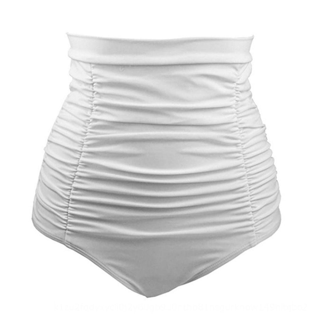 2020 cor sólida plissado cintura alta sunga sunga Mulheres Slim barriga-tight