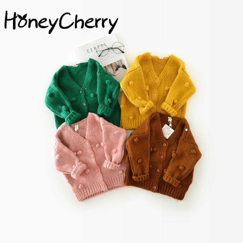 1-3 años del bebé del suéter del niño 17 Winter Ball de la mano por la chaqueta de la rebeca del suéter Cardigan Para Las muchachas Cardigan LJ200831