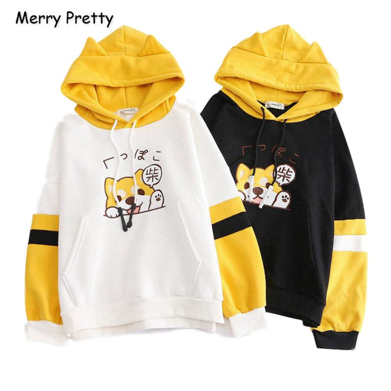 Merry Pretty Women Cartoon Dog broderie Harajuku Sweats à capuche 2019 d'hiver Patchwork Hooded plus Velvet overs CX200810