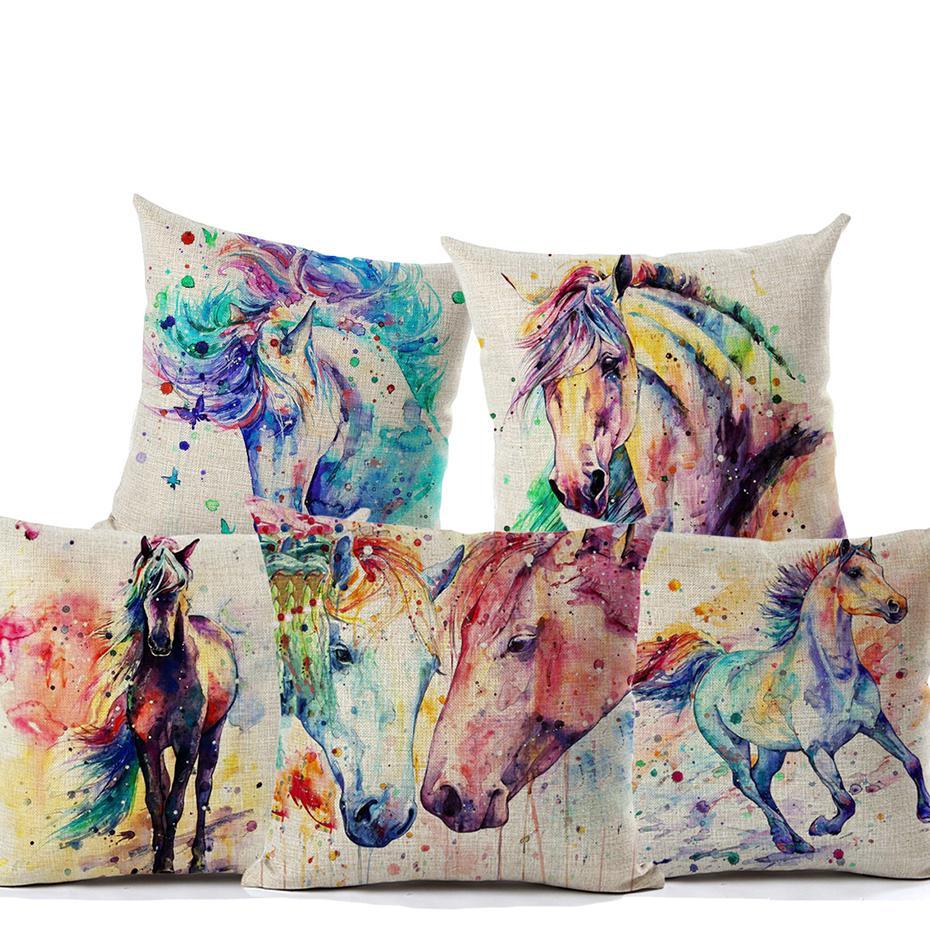 Dipinto ad acquerelli cavallo cuscini colorati Cuscino animale cavallo al galoppo Cover Art federa di cotone del sofà di lino decorativi