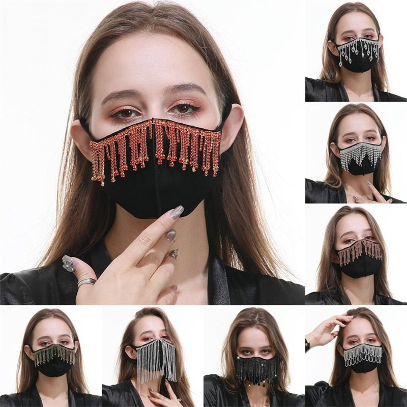 Mascarilla protectora reutilizable Círculo de la borla de la boca del respirador del paño de algodón a prueba de polvo de la mascarilla Negro Lavado cristalino de la manera Adultos 16 5RG B2