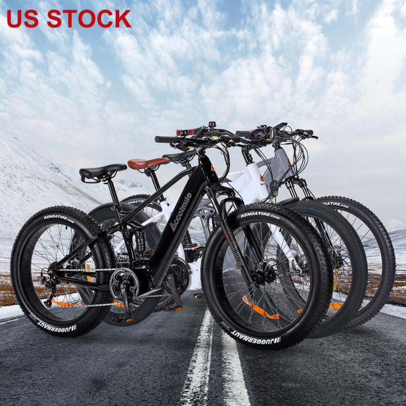 US Stock Electric Bike 43V 12.5A Lithium Battery 26/27.5inch Aluminum Electric Bicycle 500W Powerful Mountain ebike Snow Fat bike