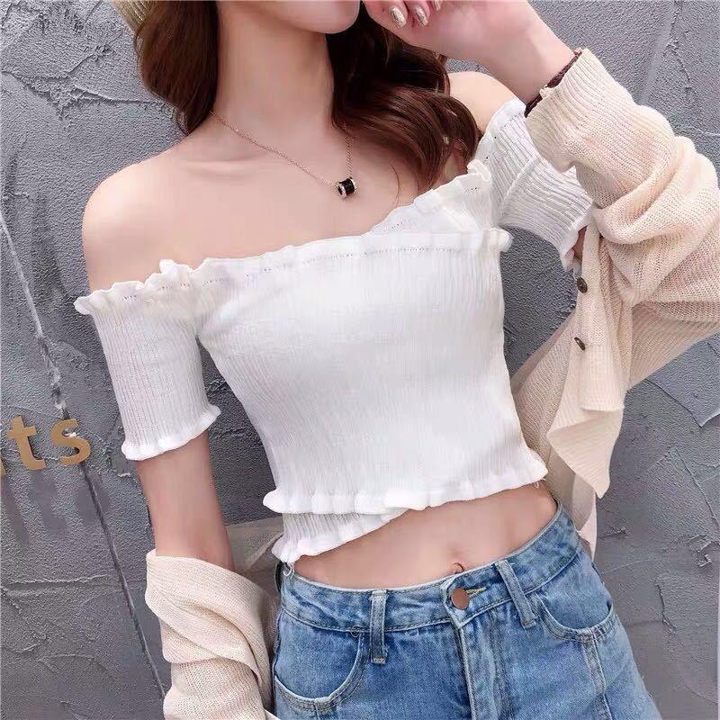05nzd QGQlE 2020 Sommer weibliche neuen weiblichen Stil Kleidung der Frauen Hong Kong Weste gestrickte T-Shirt Kurzarm-dünne kurze einzeilige Kragen passen