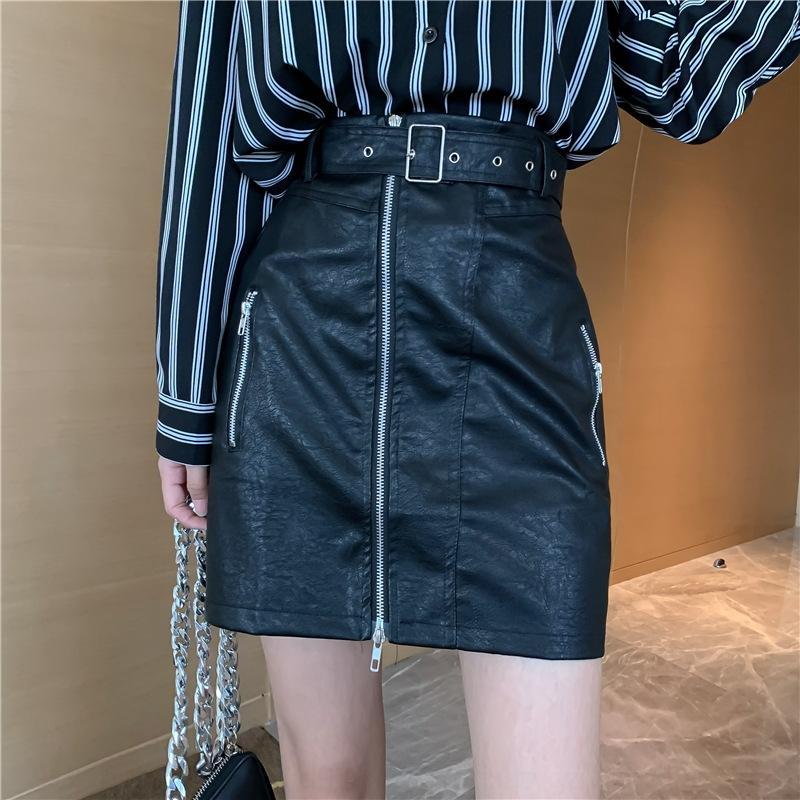 Kadınlar için MVNr8 IVAWE 2020 Sonbahar Yeni Hong Kong etek gömlek tembel tarzı + yüksek Gömlek bel çizgili zayıflama tarzı moda elbise