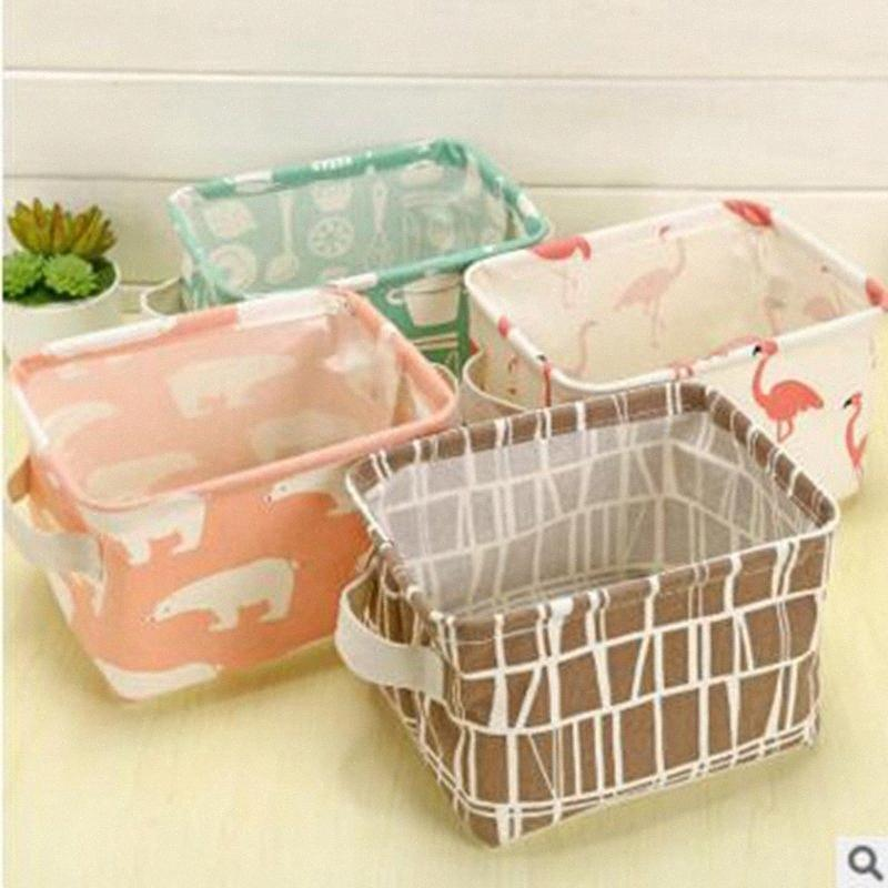 Flamingo Desktop Sundry Basket Belt Handle Storage Box Waterproof Cotton Linen Cosmetic Sundries Art Baskets Diaper Bags 6 Colors YL43 6u9M#