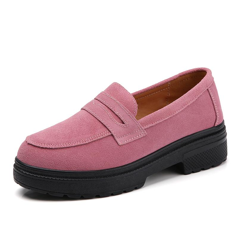 Womens Loafers Suede Leather Pumps