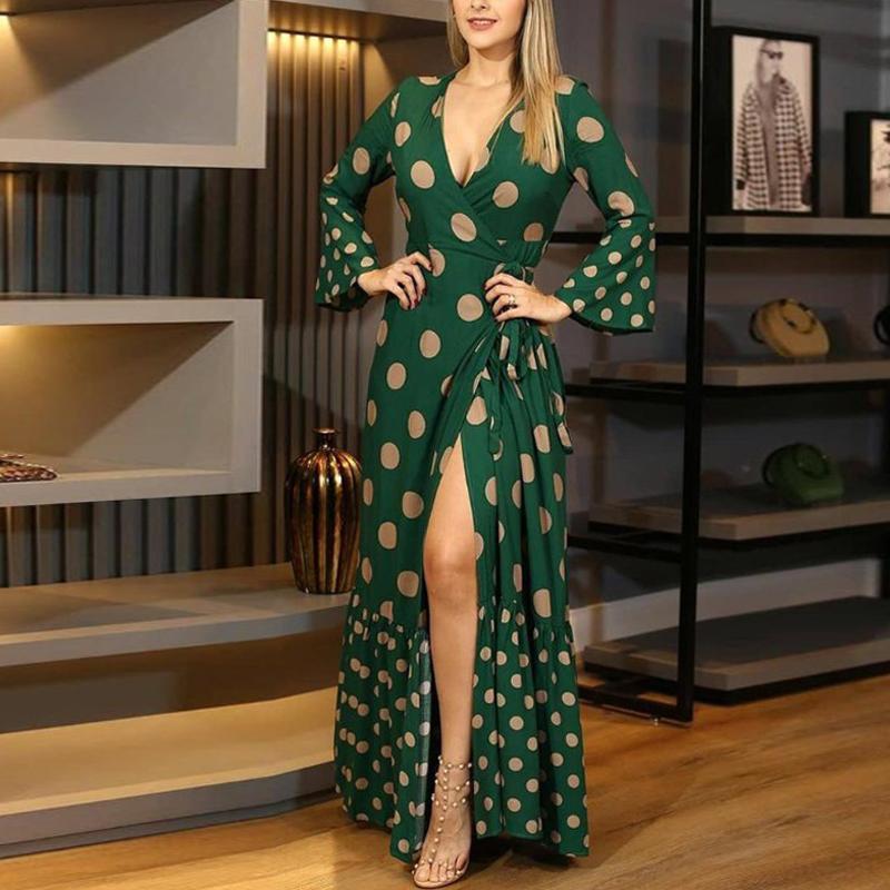 여성 우아한 레이스 업 보우 맥시 드레스 가을 빈티지 폴카 도트 플레어 슬리브 롱 드레스 섹시한 V 목 랩 슬릿 라인 파티 드레스