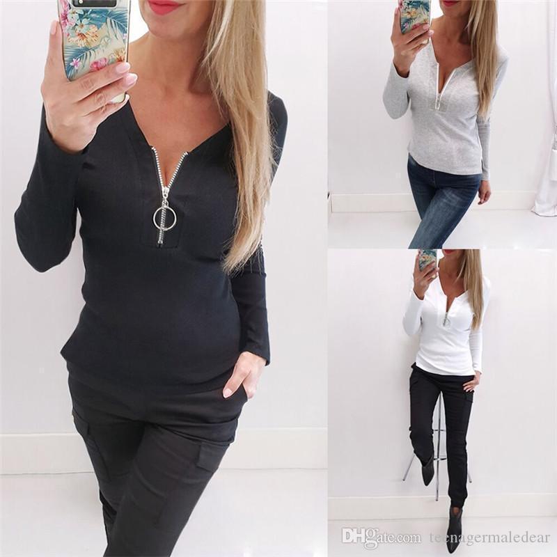 Color Sexy Slim Skinny Long Sleeved Pullover Thin Tshirts Fashion Womens Tshirts Zipper Collar Womens Designer Tshirts Solid
