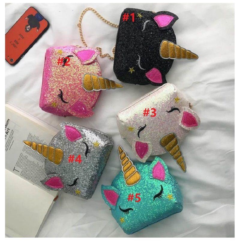 5 estilos unicornio bolsos de hombro de la cadena de Bling de las lentejuelas de dibujos animados niños Crossbody Bolsa Messenger Bag bolso de la moneda del partido del regalo del favor de 13 * 15 * 15 * 5cm