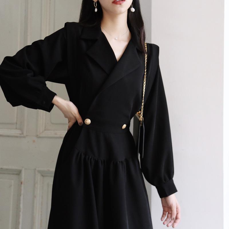 GOOHOJIO Automne Robes Femmes manches courtes Kenn-Longueur en vrac précarisés Robes dames élégantes Robes Vintage Noir