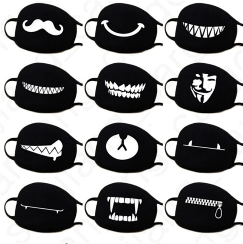 3D Karikatür Yüz Maskeleri Anti Toz Yüz Kapak Kawaii Anime Ağız Maskeleri Kaomoji-kun Emotiction Nefes Pamuk Siyah 2020 D31406 Maskesi