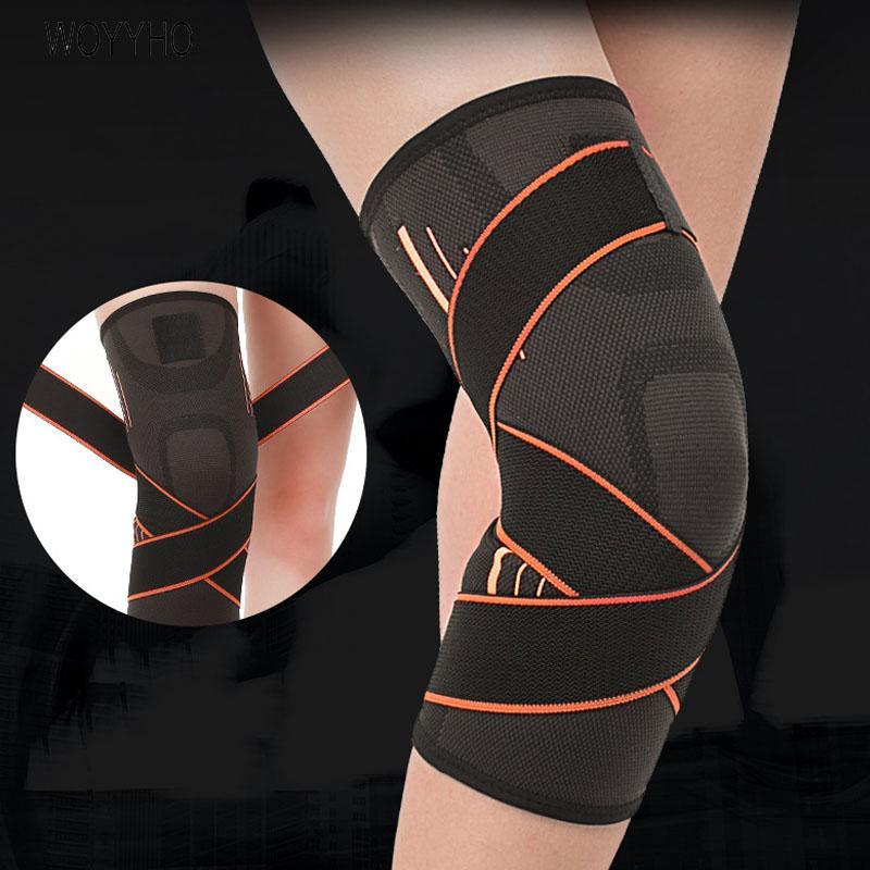 WOYYHO 1 PCS profesional Protector de Deportes rodilleras, transpirable vendaje de rodilla Brace, Baloncesto Tenis Ciclismo almohadillas de apoyo