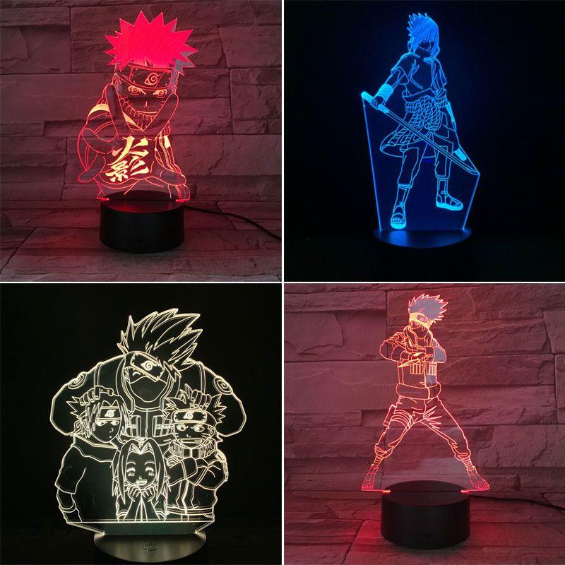 Naruto 3D LED Night Light 7 Color Changing Lamp Uzumaki Naruto Room Decoration Action Figure Toy For Birthday Christmas Gift MX200811