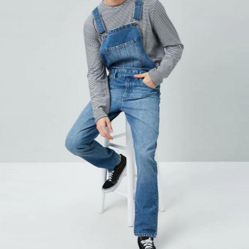 Autumn Men Vintage Jenas Jumpsuit Denim Overalls Men Slim One Piece Full Length Jeans Casual Jeans Suspenders Fashion Streetwear