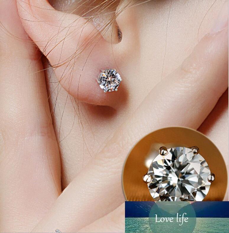 Espárragos 5MM 925 de lujo de cristal de circón Stud Pendientes anti alérgicas mujeres elegantes pendientes de las muchachas nobles de la joyería para la venta