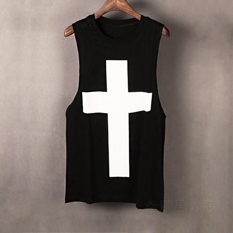 Мужчины летом моды панк-рок хип-хоп танк топ бодибилдинг без рукавов рубашки мужские крест напечатаны случайный жилет улица одежды MX200815
