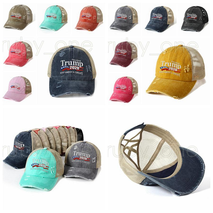 Trump Ponytail Baseball Caps 2020 US Flag Presidential Election Hats Criss Cross Make America Great Again Embroidery PartySupplies RRA3490