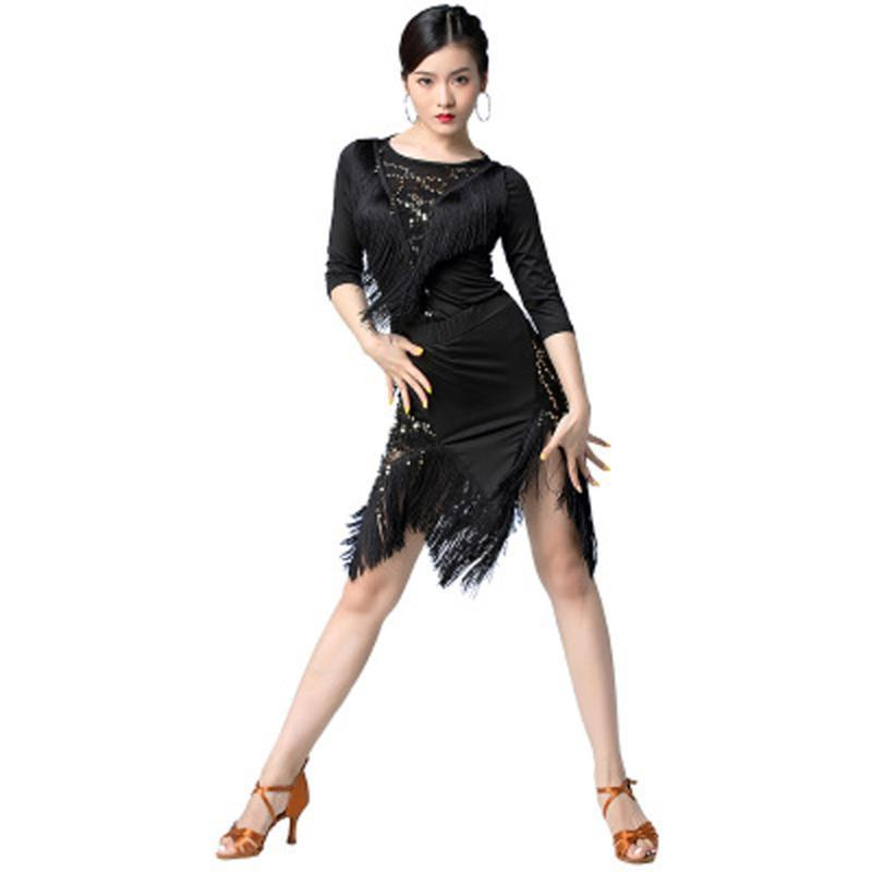 Latin dance V-neck laser sequins international modern dance performance clothing comfortable stitching tassel two-piece adult