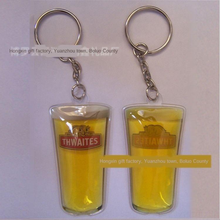 Bier-Wein-PVC-Cup-Kette Schlüssel keychain Flüssigkeit Anhänger kreative Öle Schlüssel Cup Flüssigkeit Kette Fp1cY