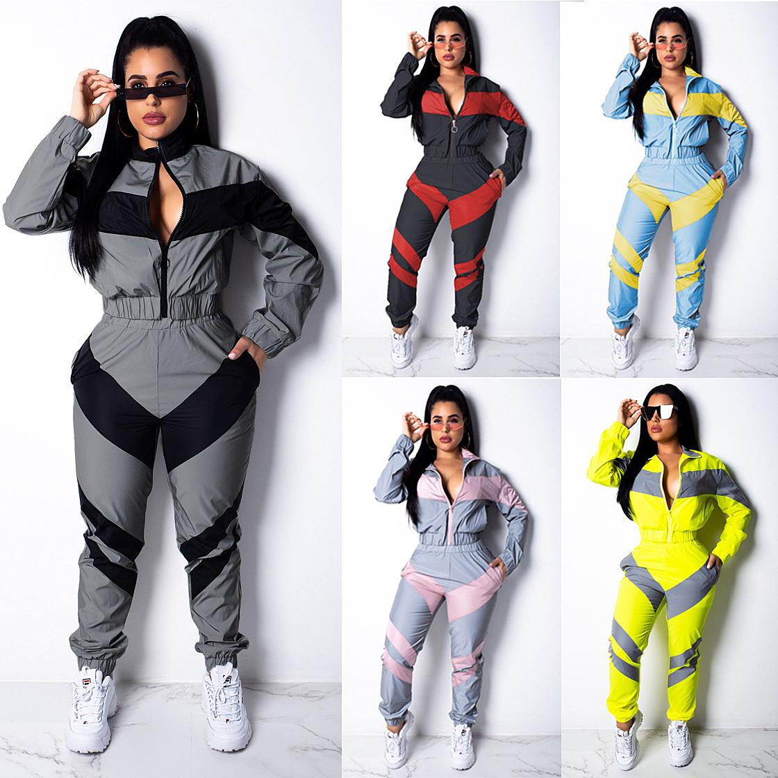 Лоскутные женщины способа Tracksuit с длинным рукавом молния куртки Tops + брюки леггинсы 2 Piece Set Осени Толстовка Outftis Спортивная Набор S-2XL