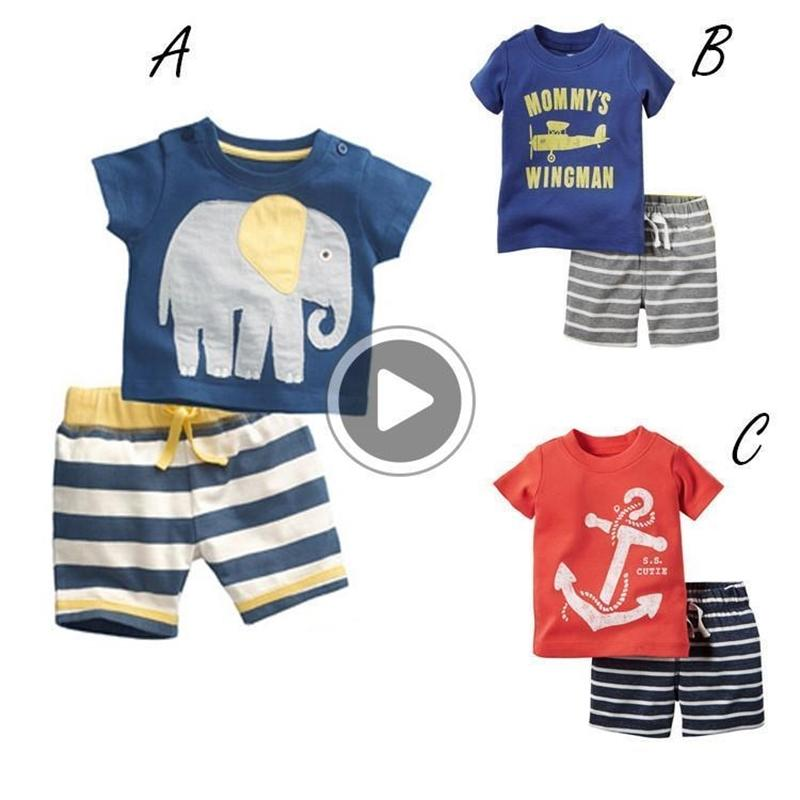 Clothing Sets Summer New Children's Suit Short Sleeve T-Shirt Short Pants Boy Sailor Stripes Adorable Not Hooded Pure Cotton Two-P