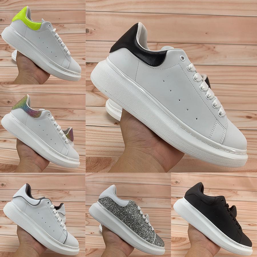 جديد منصة حذاء عاكس أعلى أسود أبيض تعكس متعدد الألوان الذيل الفضة الأحمر الترتر الذهب المعدني الرجال النساء الأزياء الاحذية