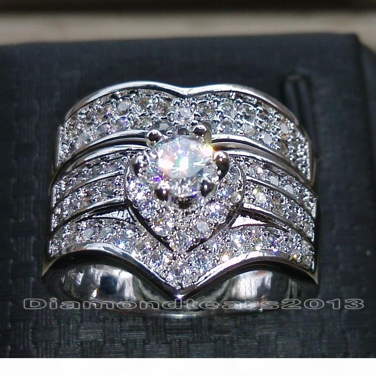 Victoria Wieck Luxuxschmucksachen Marke Desgin 10kt Weißgold gefüllt Rundschnitt-Saphir CZ-Diamant-Hochzeit Brautringe für Frauen Größe 5-11