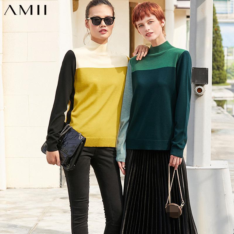 AMII Minimalism Sonbahar Bayan Triko Mizaç Karşıt Color Design Turtleneck Kadınlar Kazak Kadın 12040377 Tops