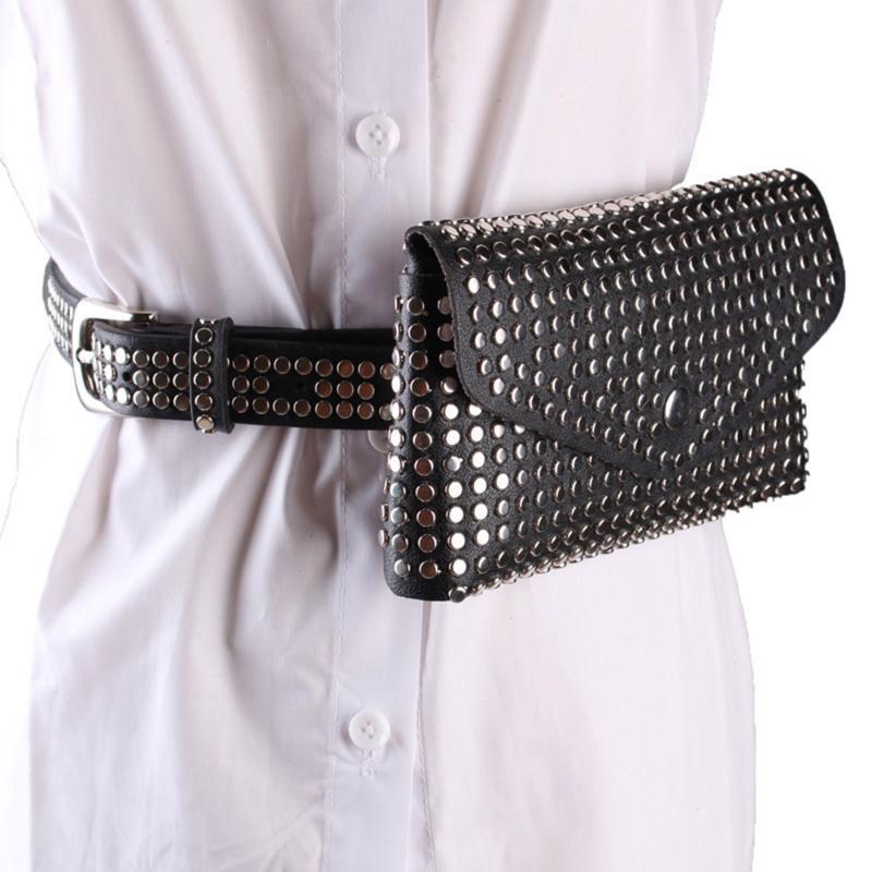 Envelope Waist Bags Rivet Belt Bag Women Personalized Mobile Phone Bag Jeans Punk Style Ins Belt Magnetic Snap PU Lady Fashion