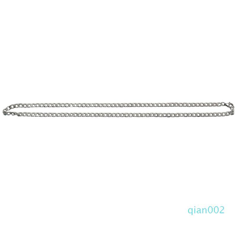 Promozione! Collana in acciaio inossidabile Uomo largo Curb catena a maglia, argento, 5 mm di larghezza, lunghezza 48 centimetri (con Gift Bag)