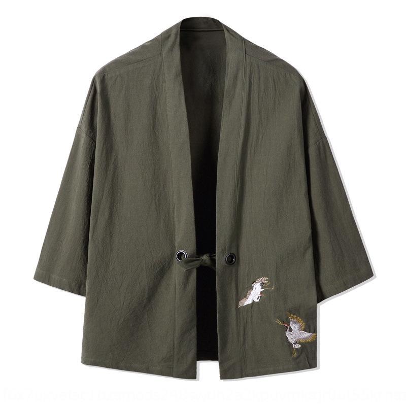 casaco novo estilo chinês e algodão algodão e Hanfu ocasional roupa dos homens bordados de linho casaco grande tamanho Tang terno túnica masculina TkQwW 2020