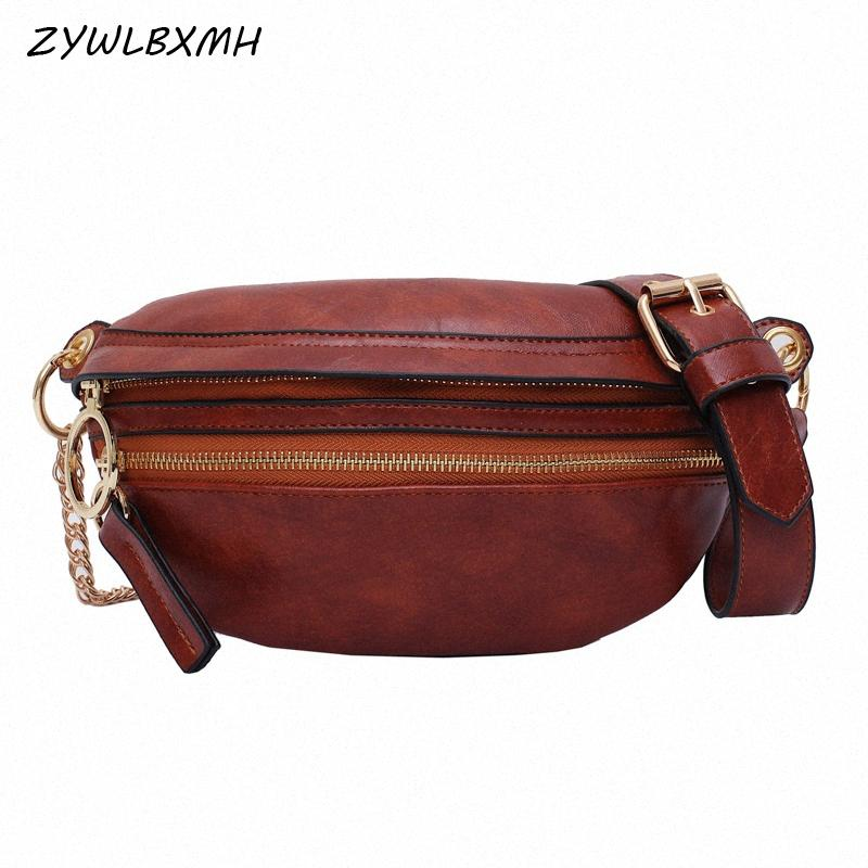 ZYWLBXMH Multi Pocket Waist Packs Solid Color Waist Bag Waterproof PU Leather Fanny Pack Zipper Belt Bag Womens Chest 9FZP#