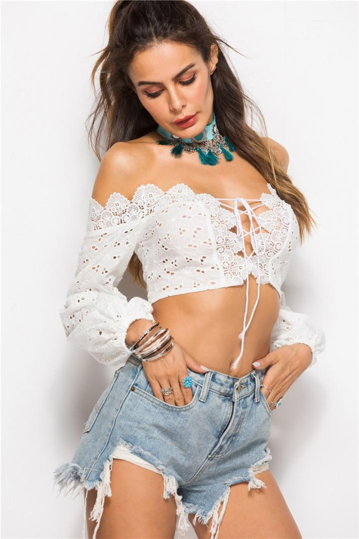 Oco Out Top Curto Moda Lacing Long Sleeve Tees Mulheres Roupa Mulheres Designer Lace Painéis Tshirts Sexy