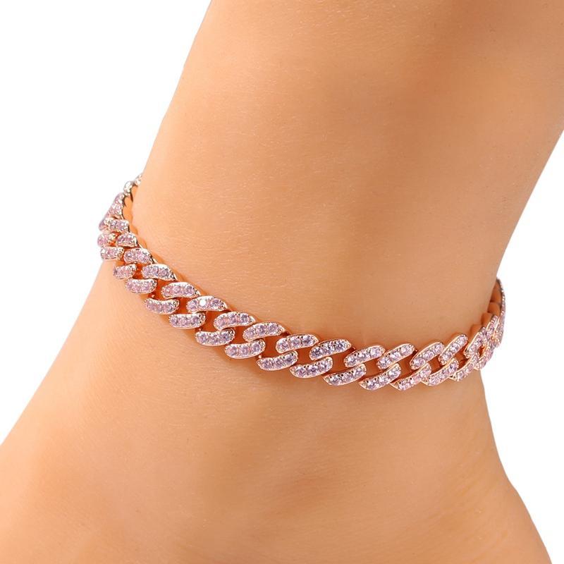 Womens Anklets Bracelet Iced Out Cuban Link Anklets Bracelets Gold Silver Pink Diamond Hip Hop Anklet Body Chain Jewelry