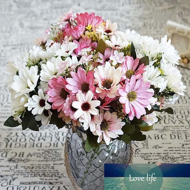 Шелк Daisy Поддельного листьев Свадьба Главной Vase партия Искусственные растения украшение Ремесло невеста Букет 10шт утвари