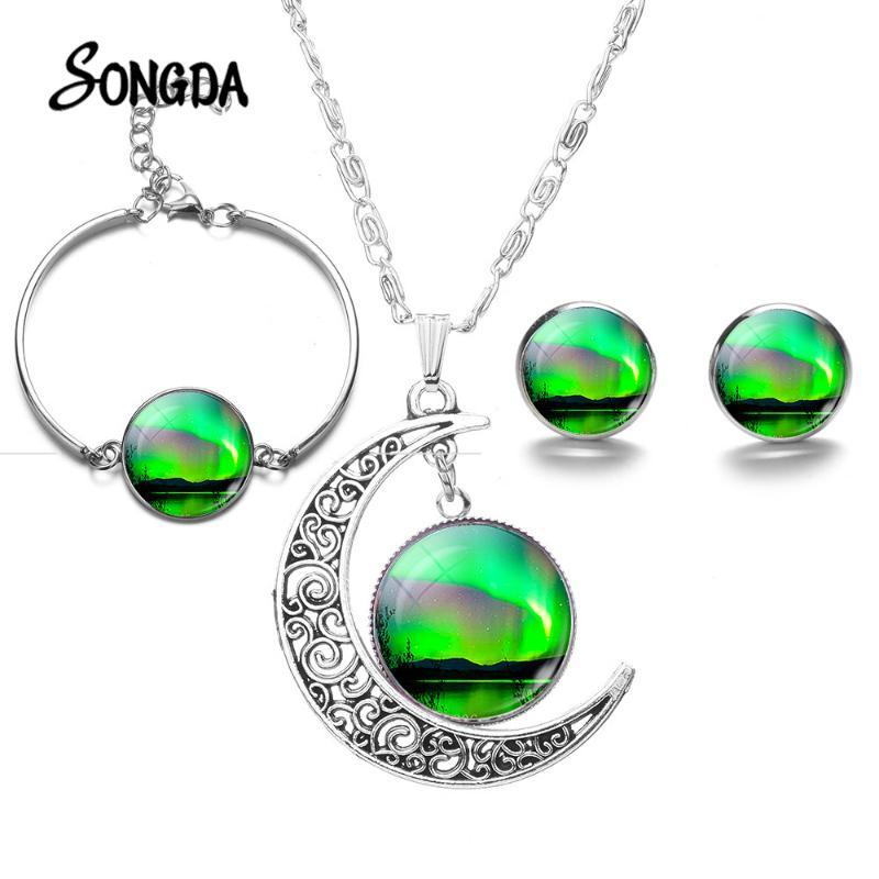 Verdes Northern Lights sistemas de la joyería del encanto de Aurora Borealis Art Glass cabujón luna colgante collar pendientes de la pulsera regalo