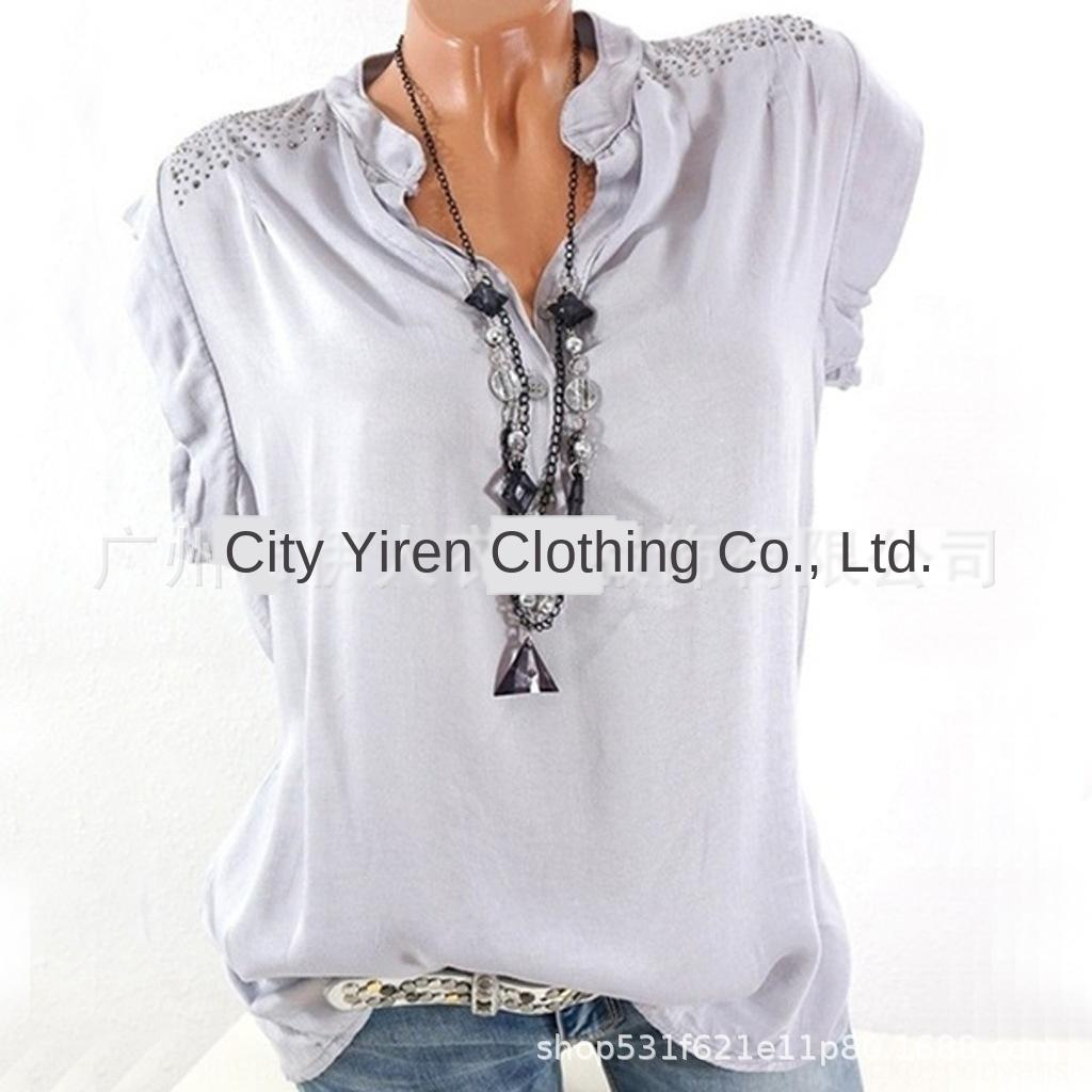 2019 das mulheres gola diamante incrustado moda de manga curta gola diamante incrustado camisa elegante curto-sl 2019 das mulheres