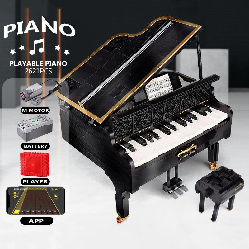 أفكار سلسلة XQGQ-01 التحكم التطبيقات لعب الكبرى 2623pcs البيانو الإبداعية MOC-13192 21323 بناء كتل الطوب اللعب هدايا عيد الميلاد