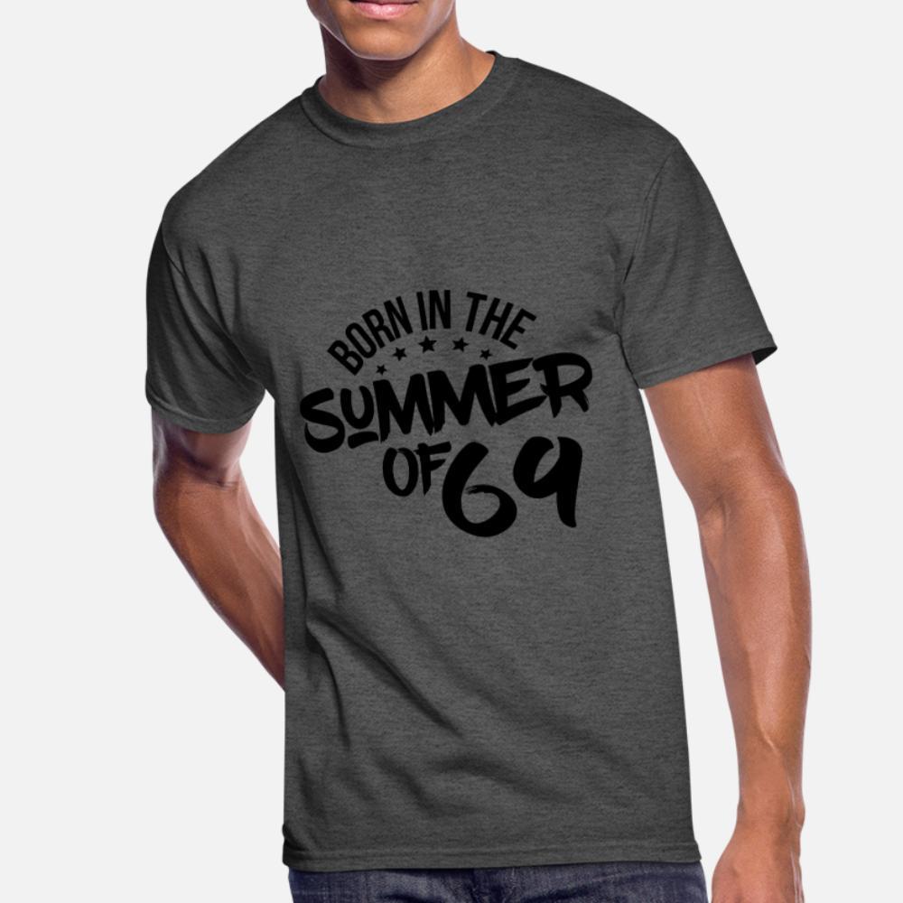 Verão 69 Nascido em 50 Camisa do aniversário t homens Designing manga curta além de tamanho 3xl Camisa formal verão Novidade Anti-rugas Básico