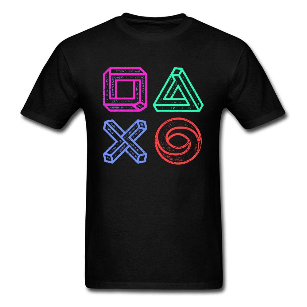 XBOX Play Game Station Controller Optical Illusions Tshirt Радуга Videogame Смешная тенниска Man Осень фуфайки большой скидкой
