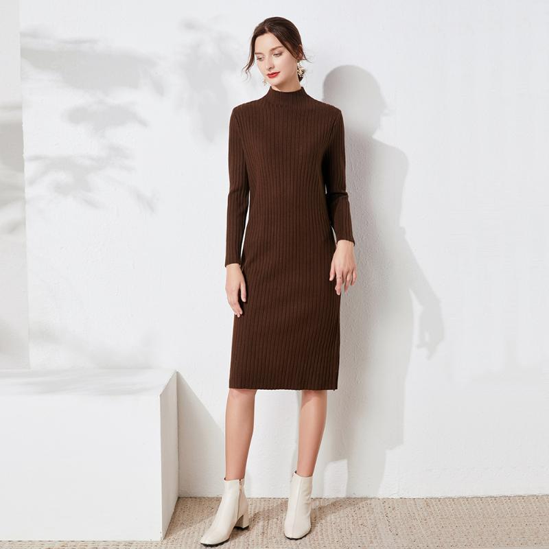2020 robe pull midi automne hiver femme mi-longueur tricot robe Highneck femme mince chaud moulante pull