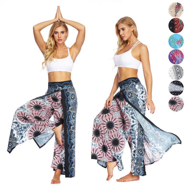 2020 neue böhmische Hosen breite Art und Weise der Frauen beiläufige Bein Yoga-Training Palazzo Hippie-Strandhosen Fitness Yoga Sport