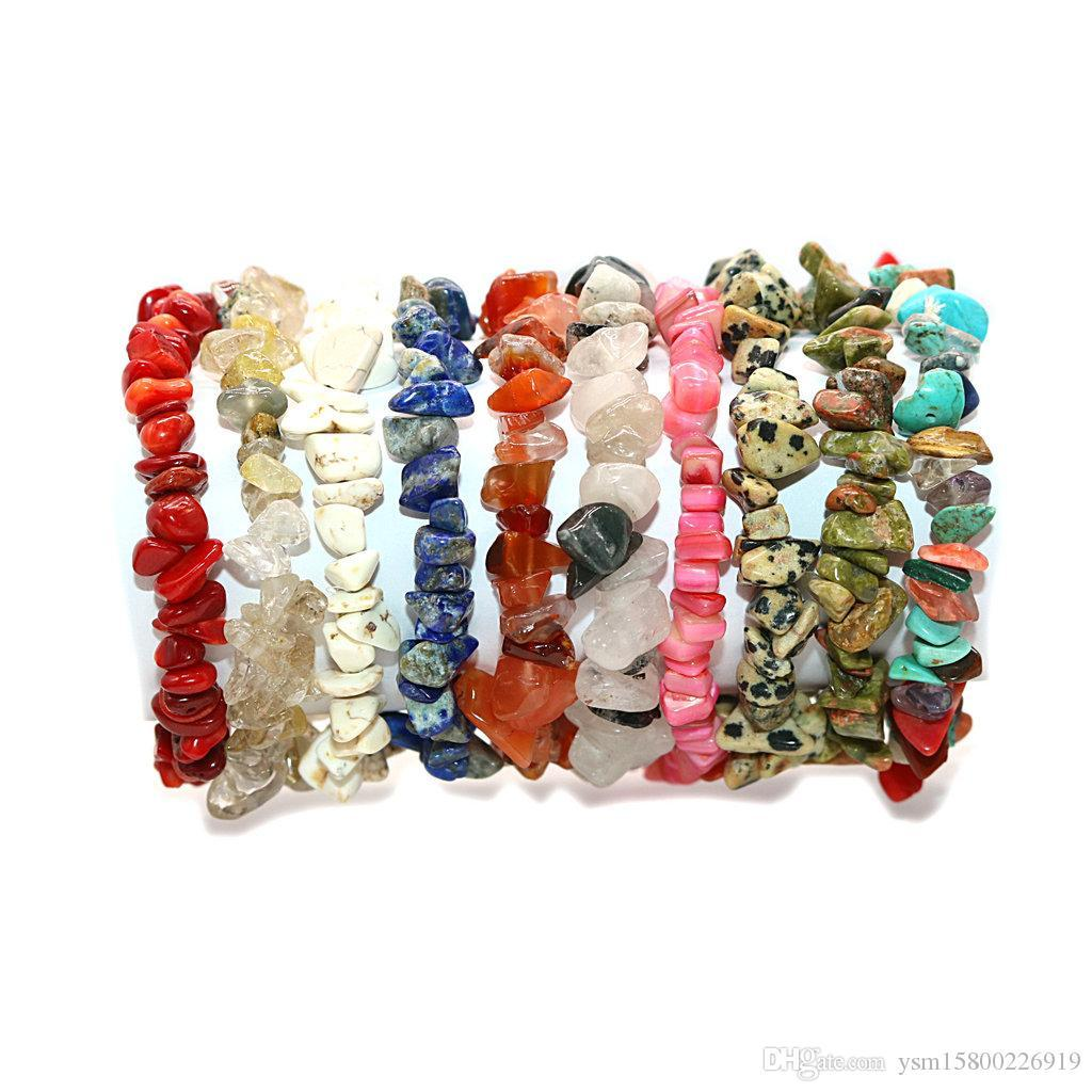 6PCSForeign Handel neue Art und Weise einfachen Naturstein Kristall Gravel Armband Unregelmäßige Gravel-elastische Armband Damen Schmuck