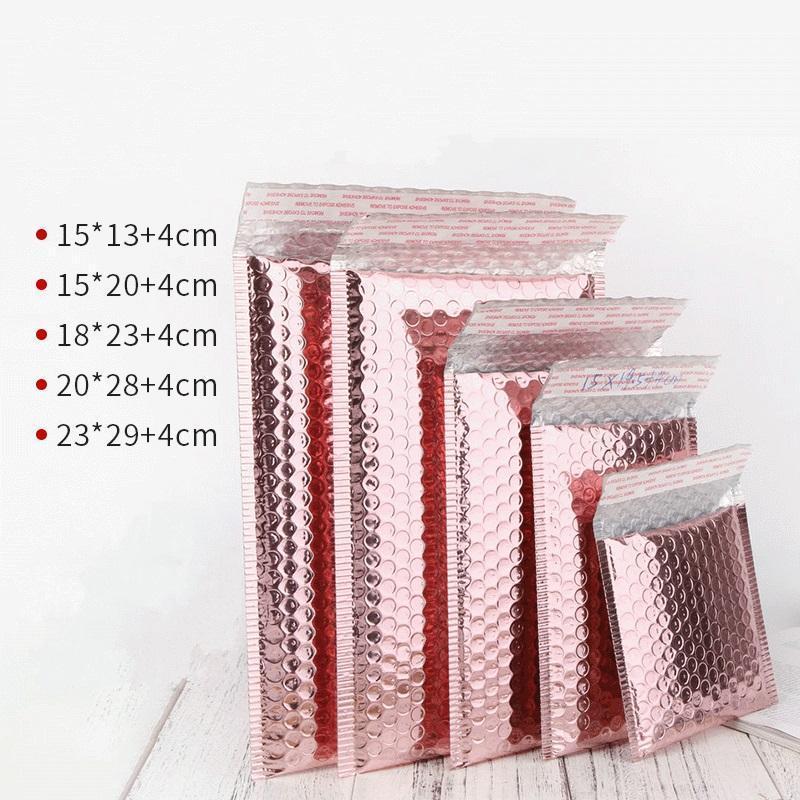 Embalaje favor prueba de golpes bolsa de oro paquete de sobres multisize Rose bolso de la boda de la hoja de oro rosa burbujea anuncio publicitario de la burbuja regalo xhhair ZZpfh