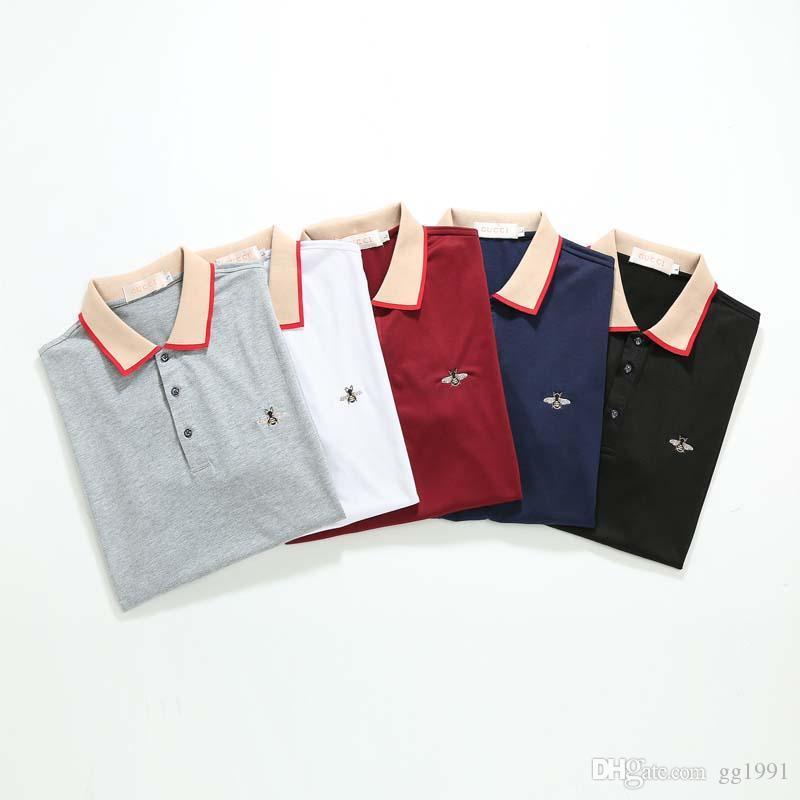 2020 Italia diseñador del Mens Polos Hombre Calle bordado liga pequeña abeja de impresión Marcas Los más calidad Cottom ropa camisetas M-3XL