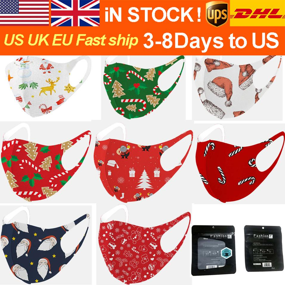 Free DHL/UPS Christmas cotton mask ice silk adult windproof and dustproof retail packaging mask cartoon children printed washable mask