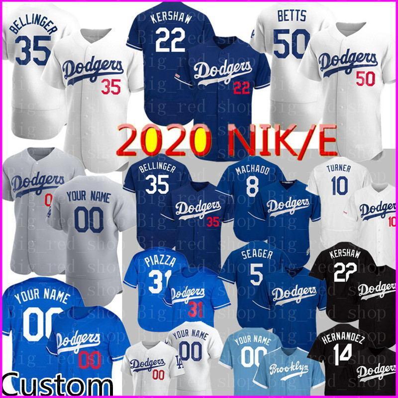 2020 Yeni 35 Cody Bellinger Jersey 22 Clayton Kershaw 50 Mookie Betts Özel Mike Piazza Justin Turner Machado Hernandez Beyzbol Formalar üst